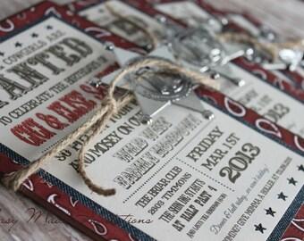 Handmade Western invitation with Bandanna Print and Full Western Print