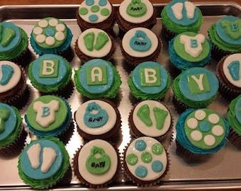 Fondant Baby themed Cupcake toppers 2 dozen