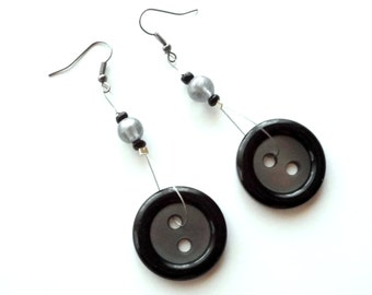 SALE Recycled button earrings upcycled jewelry long black earrings eco jewelry black statement earrings repurposed jewelry nerd earrings