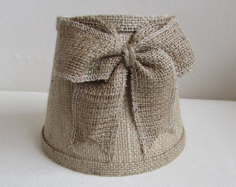 chandelier lampshade in Burlap with small burlap bow
