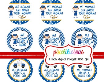Bottle Cap Image Sheet - Instant Download - Police Mommy -  1 Inch Digital Collage - Buy 2 Get 1 Free