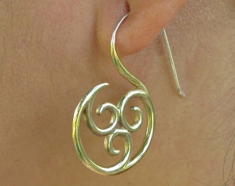 TRISKELION Hoop earrings brass and sterling silver Free shipping!