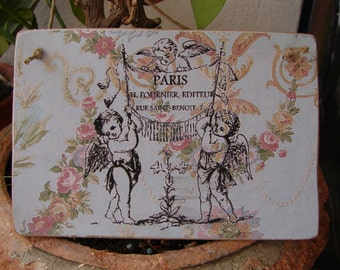 French shabby chic, Victorian style wallpaper with ornate French cherub design on wooden tag/dresser/door hanger