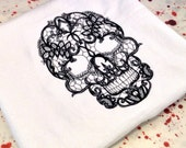 Embroidered tea towel, kitchen towel, housewares, hand towel, goth, gothic skull, tattoo art, black and white, lace, romantic housewares