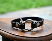 Black leather bracelet with stainless steel shackle buckle