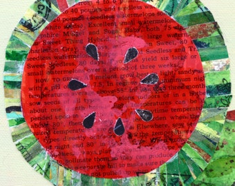 Watermelon original mixed media collage, paper cloth, red and green, canvas, food, fruit, kitchen art, colorful, round, square art, melon