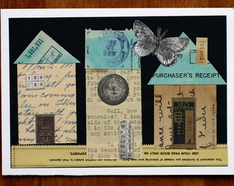 Trio of houses collage from vintage ephemera, letters, blue and beige,black, turquoise, cut paper, handwriting, typewritten