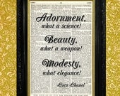 Coco Chanel Fashion Quote Dictionary Art Print, Recycled Upcycled Vintage Book Page Art, Home or Office Wall Decor