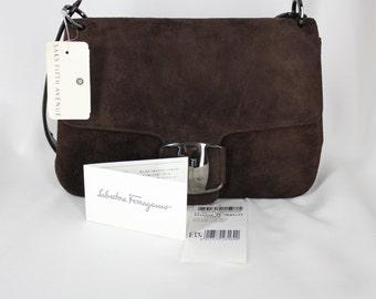 Vintage Ferragamo Brown Leather Suede Bag