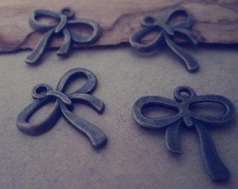 50pcs  Antique Bronze bowknot Pendant Charms 18mmx19mm