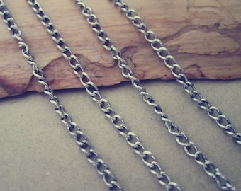 6.6ft (2m) antique Silver necklace chain 3mmx4mm