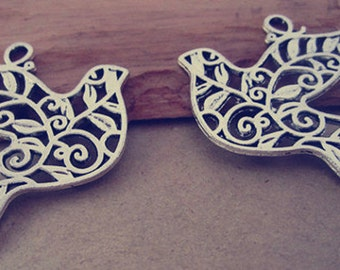 12pcs Antique silver Double sided  birds Charms Pendant  33mmx37mm