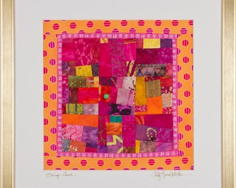 SALE/A Fine Art Framed Art Quilt in Fuschia Orange: ORANGE CRUSH