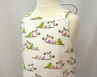 Girls Crossback Apron with Pockets, Japanese Apron, Art Smock, Pinafore Apron, Criss Cross Apron with Pink, Lime and Peach Birds, Mama Bird