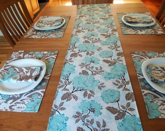 Blue and Brown Table Runner Centerpiece Runner with Deer and Chrysanthemum - Birch Farm