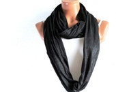 Woman scarves in black, Gift for her, infinity scarves for woman, Eternity, Circle, Loop Scarf, Accessories for Teens or Adults, SCARVES