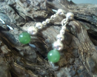 Beautiful green Jade and sterling silver earrings