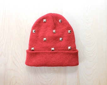 Red Studded Knit Beanie- One Size Adult