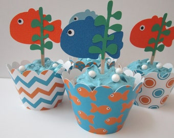 Chevron Fish Cupcake Wrapper