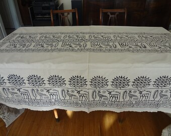 Handblocked X- LARGE Rectangle Tablecloth - OOAK - Cream