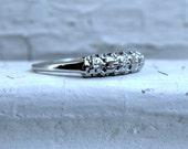 Vintage Scalloped Edge 14K White Gold Diamond Wedding Band.