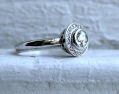 Diamond Pave Halo with Rose Cut Diamond Center in 14K White Gold.