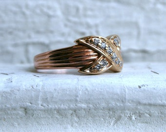 Vintage 14K Rose/ Yellow Gold Pave 'X' Diamond Wedding Band.