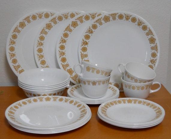 On Sale Vintage Butterfly Gold Corelle Dinnerware Set