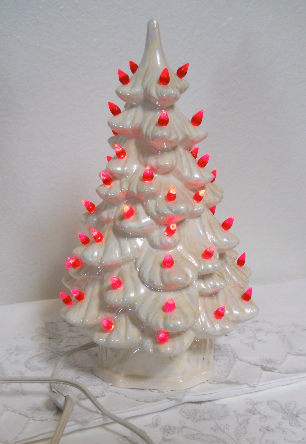 Vintage white ceramic christmas tree with red lights by cyndalees