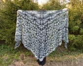 Crochet Shawl, Handmade Big Triangle Shawl Coat, Gray