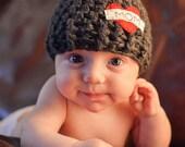 """baby boy hat -Dark gray """"Mom"""" hat/ newborn hat/"""