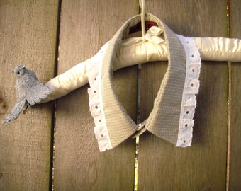 Funky Collar Necklace/ Shabby Fabric Neck Collar/ Mens Shirt Collar Choker