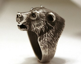 Bikers ring, Bear head ring, Good gift, Sterling silver ring, Antique ring, wild animals, ring for man, Grizzly bear ring.