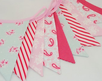 Shabby Chic Party Bunting - TILDA in Teal, Pink and Raspberry Red - The perfect decoration for Weddings, Parties and Showers