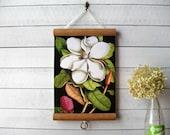 "Mini Canvas Vintage Pull Down Style School Botanical Chart with Oak Wood Trim  - Magnolia (8.5"" x12"")"