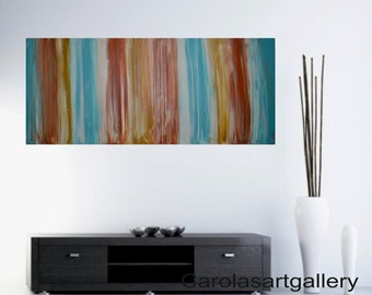 "56""  Original Large Abstract  Painting striped 1,5"" deep  Acrylic Painting Modern Art  Palette Handmade by Carola, 56""x24"""