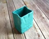 """Ceramic Vase in Turquoise Blue, """"Paper Bag"""" Design.  Handmade ceramic vase, ceramic planter, handmade ceramics"""
