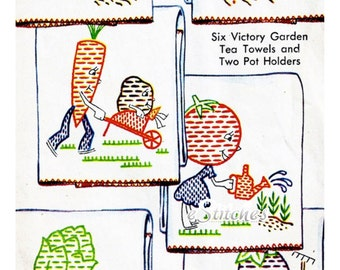 1940s Victory Garden TRANSFERS Vegetable Characters for Tea Towels, Pot Holders and more - 8 PDF Embroidery Transfer patterns 1216