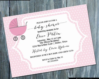Classic Carriage Baby Shower Invitation - Printable Custom Baby Shower Invitation | BA115