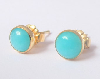 Amazonite Earrings/ Gold filled Studs with 6mm Amazonite/ Gemstone Post Earrings