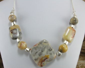Necklace-Crazy Lace Agate Necklace Silver Chain Necklace Gemstone Necklace Handmade Jewelry Handcrafted Jewelry Genuine Natural Gemstones