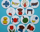 Lot of 14 circle cards from a childrens Miffy game. Great for scrapbooking.