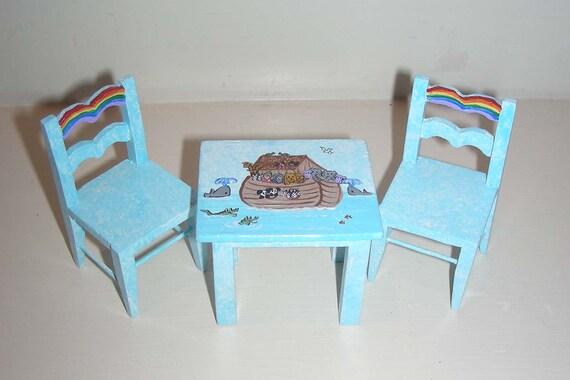 NOAH'S ARK Play Table with 2 Chairs Dollhouse Miniature Blue Boy's Nursery Animals Water