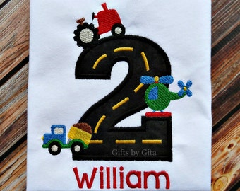 Embroidered transportation birthday  shirt, birthday boy shirt,  transportation theme with cusomizable vehicles and name, numbers 1-5