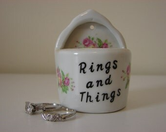 Little Rings and Things Trinket Ring Holder Procelain Handpainted Flowers