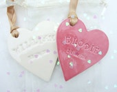 Personalised ceramic Wedding favour, place name, choose colours of glaze and ribbon, MADE TO ORDER