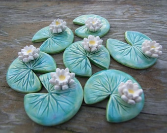Water lily brooch ceramic green leaf Spring time lily pad