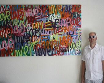 ORIGINAL abstract word message art contemporary street art modern painting fine art acrylic urban modern