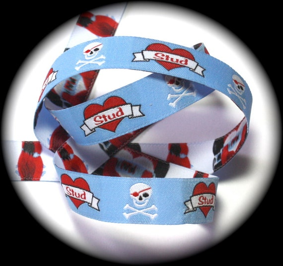"""Skull and Crossbones - Stud 5/8"""" x 3 yards Blue, Red, Black and White"""