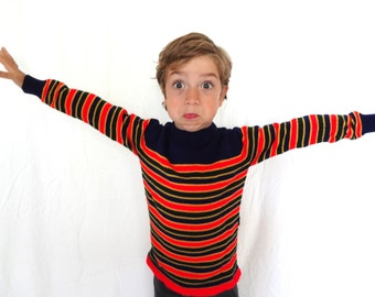 Vintage Kid's Sweater 70s 80s Orange Striped Navy Blue Size 5 Boy Girl Turtle Neck Warm Fall Holiday Thanksgiving Holiday